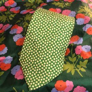 Salvadori Ferragamo Italian pea green silk tie